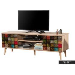 Selsey szafka rtv smartser 140 cm z frontami w kolorową mozaikę (5903025272337)