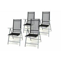 Komplet ogrodowy 4 krzeseł składanych - czarny