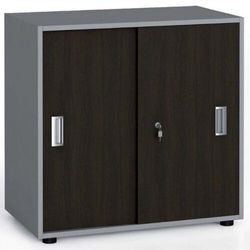 B2b partner Szafa biurowa z przesuwnymi drzwiami, 740 x 800 x 420 mm, wenge