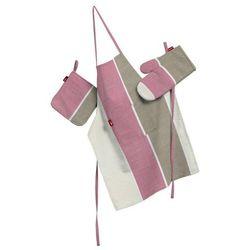 komplet kuchenny fartuch,rękawica i łapacz, różowo-beżowo-kremowe pasy, kpl, cardiff, marki Dekoria