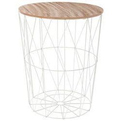 Okrągły stolik kawowy, funkcja kosza, blat w kolorze drewna, kosz w kolorze białym marki Atmosphera créateur d'intérieur