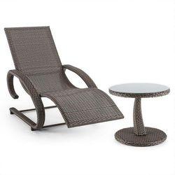 daybreak leżak bujany + stolik imitacja plecionki kolor szarobrązowy (taupe) marki Blumfeldt