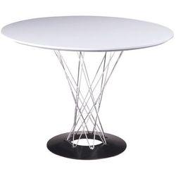 Stół okrągły twist 100 biały - mdf, stal chromowana marki King home