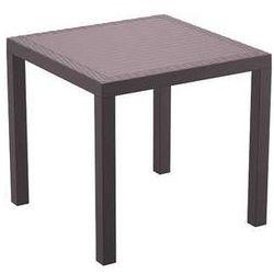 Stół ogrodowy do hotelu z polyrattanu Orlando 80 Siesta brązowy