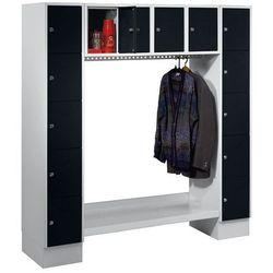 Szafa na garderobę, otwarta, wys. x szer. całk.: 1850x1800 mm, 14 półek, czarny, marki Eugen wolf