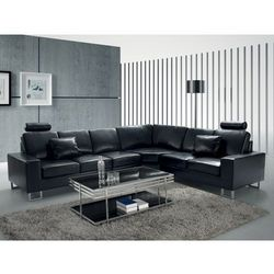 Stylowa sofa kanapa z czarnej skóry naturalnej narożnik STOCKHOLM z kategorii Narożniki