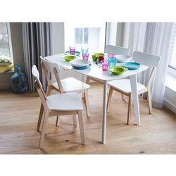 Stół do jadalni biały 120/160 x 80 cm rozkładany SANFORD (7105275814284)