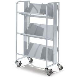 Quipo Stalowy wózek na segregatory, 3 piętra, białe aluminium. z 3 podpórkami na książ