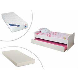 Vente-unique Wysuwane łóżko nolane – 90 × 190 cm – lakier w kolorze białym, materac wysuwany i materac zeus, 90 × 190 cm