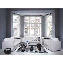 Sofa biała - kanapa - skórzana - trzyosobowa - wypoczynek - helsinki marki Beliani