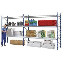 Regał o dużych półkach do dużych obciążeń, z modułami nakładek z kraty drucianej marki Manorga