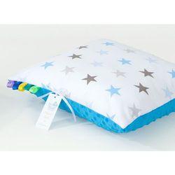 Mamo-tato poduszka minky dwustronna 30x40 gwiazdki szare i niebieskie d / niebieski