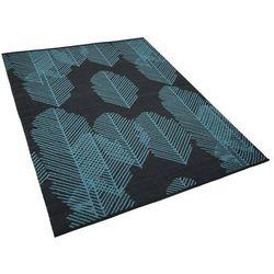 Dywan na zewnątrz ciemnoszary wzór liści 160 x 230 cm dwustronny MEZRA (4251682211352)