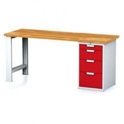 Stół warsztatowy MECHANIC, 2000x700x880 mm, nogi regulowane, 1x szufladowy kontener, 4 szuflady, szary/czerwony
