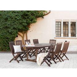 Meble ogrodowe - brązowe - ogród – taras - stół + 8 krzeseł – MAUI (7081456138434)