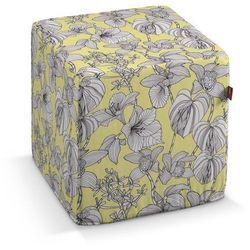 Dekoria pufa kostka twarda, białe kwiaty na żółtym tle, 40x40x40 cm, brooklyn