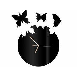 Zegar z pleksi na ścianę Motyle z złotymi wskazówkami