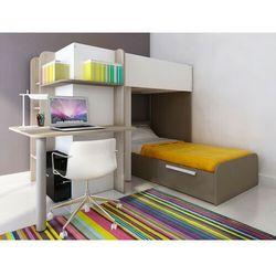 Łóżko piętrowe samuel – 2 × 90 × 190 cm – wbudowane biurko – kolor sosna biała i czekoladowy marki Vente-unique
