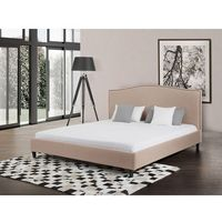 Łóżko beżowe - 180x200 cm - łóżko tapicerowane - MONTPELLIER, kolor beżowy