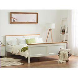 Drewniane łóżko białe ze stelażem 140 x 200 cm olivet marki Beliani