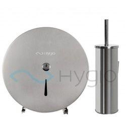 HYGIO podajnik pojemnik na papier tolaetowyJUMBO MAXI i szczotka WC stal szczotkowana mat, SH0234 SH0111