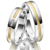 Srebrne Obrączki Ślubne - komplet. Polerowane, pozłacane żółtym złotem, z 3 cyrkoniami