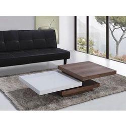 Nowoczesny stolik kawowy - 105x70cm - ława biało brązowa AVEIRO