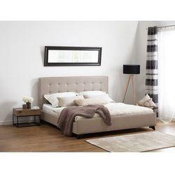 Nowoczesne łóżko tapicerowane ze stelażem 140x200 cm beżowe AMBASSADOR (7081457415145)