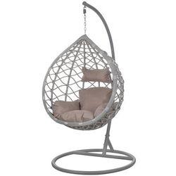 Fotel wiszący ogrodowy kokon jasny szary z poduszkami