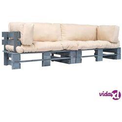 vidaXL Meble ogrodowe z palet, 2 szt., drewno FSC, piaskowe poduszki (8718475727910)