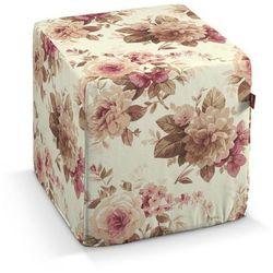 pufa kostka twarda, bordowo-beżowe róze na kremowym tle, 40x40x40 cm, mirella marki Dekoria