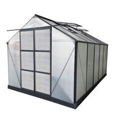 Szklarnia ogrodowa z poliwęglanu o pow. 9 m² corolle ii z podstawą - antracytowa - marki Vente-unique