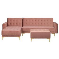 Sofa rozkładana welurowa różowa prawostronna z otomaną ABERDEEN