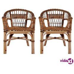 vidaXL Krzesła ogrodowe, 2 szt., naturalny rattan, brązowe (8718475732600)