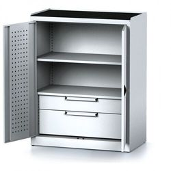 Szafa warsztatowa mechanic, 1170 x 920 x 500 mm, 1 półki, 2 szuflady, szare drzwi marki Alfa 3