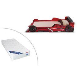 Vente-unique Łóżko samochód formule 1 - 90 × 190 cm - mdf czerwony - diody led + materac zeus 90 × 190