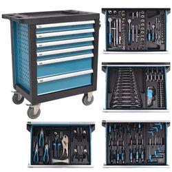 vidaXL Wózek warsztatowy z 270 narzędziami, stalowy, niebieski