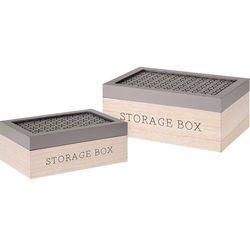 Home styling collection Komplet drewnianych pudełek, ozdobne kuferki na drobiazgi, zestaw 2 szt - brązowy