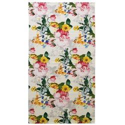 Elegancki ręcznik bawełniany plażowy z ozdobnym motywem kwiatowym, duży ręcznik luksusowy, Essenza, 100 x 180 cm