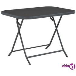 vidaXL Składany stół ogrodowy, szary, 100x75x72 cm, szkło i stal