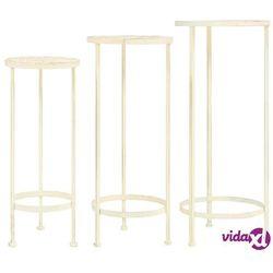 vidaXL Zestaw 3 kwietników vintage, metalowy, antyczny biały (8718475606246)