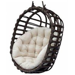 Czarny wiklinowy fotel wiszący z kremowym siedziskiem - Petro 3X