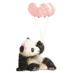 Naklejka ścienna Dekornik - Panda z balonami róż (55x92)