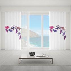 Zasłona okienna na wymiar - PING & PURPLE FEATHERS