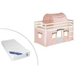 Łóżko na podwyższeniu LILIO - 90 × 190 cm - Lite drewno sosnowe - Bielone - Różowe dodatki + materac ZEUS 90 × 190 cm