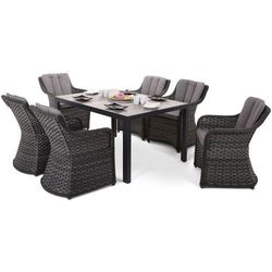 Meble ogrodowe aluminiowe capri 145 cm black / light grey dallas grey / grey 6+1 marki Home & garden