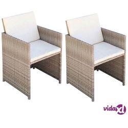 vidaXL Krzesła ogrodowe, 52x56x85 cm, 2 szt., polirattan, szaro-beżowe