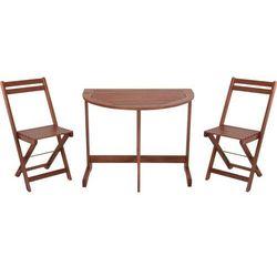 Zestaw mebli ogrodowych z drewna akacjowego, ustawny półokrągły stół składany z dwoma krzesłami (87192