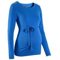 Sweter ciążowy z 100% bawełny, z wiązanym paskiem  lazurowy, Bonprix, 32-54