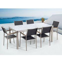 Zestaw ogrodowy biały ceramiczny blat 180 cm 6 czarnych krzeseł GROSSETO